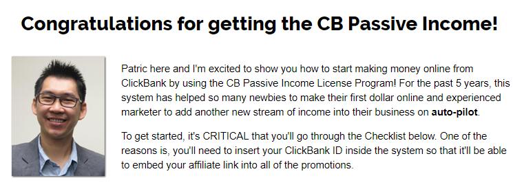cb passive income 5 welcome