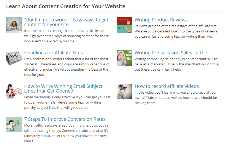 affilorama review content creation training