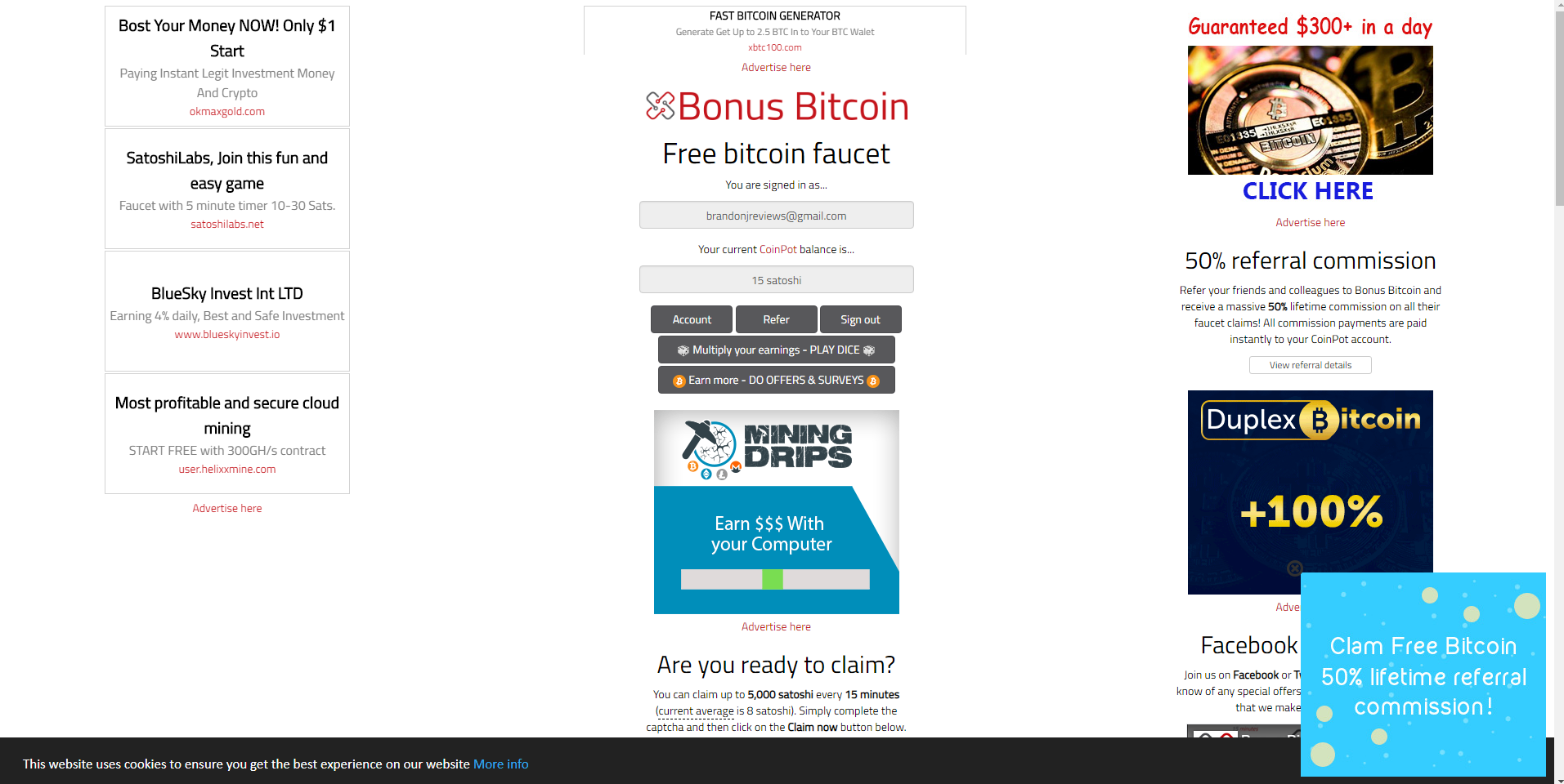 bonus bitcoin review ads