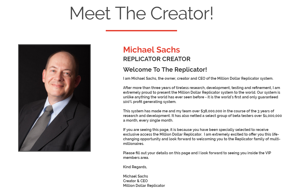 million dollar replicator review michael sachs